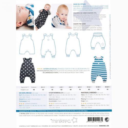 MINIKREA Schnittmuster Baby-Strampler Gr. 44-92 - stoffbotin - Bio ...